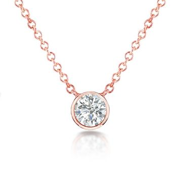Annello 14k Gold 1/3ct TDW Bezel Diamond Solitaire Necklace | Overstock.com Shopping - The Best Deals on Diamond Necklaces