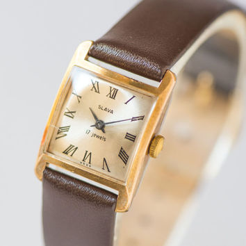 Woman's watch square gold plated Slava\Glory wristwatch elegant design watch gift her premium leather strap new