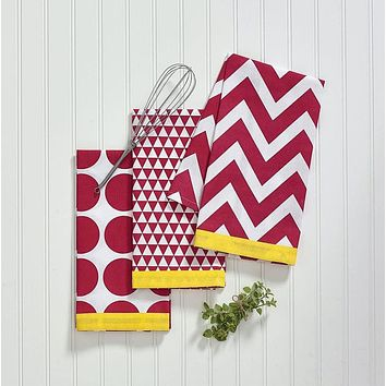 Split P Kitchen Pop Red 4 Pcs Dishtowel Set