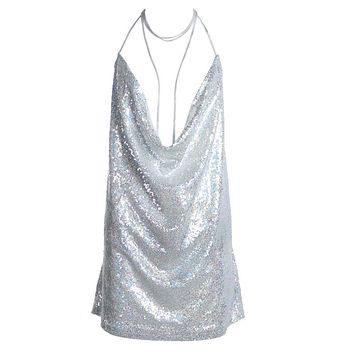 Women Backless Sequin Dress Ladies  Sexy sleeveless Deep-V halter Chain Choker Slip party Dress Silver/black/pink