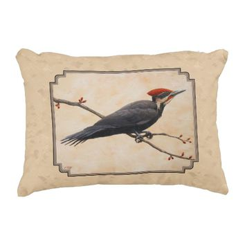 Pileated Woodpecker Tan Accent Pillow