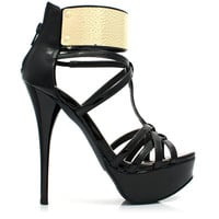 (anp) Gold plate strappy black patent pu heels