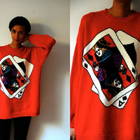 Vtg Queen Diamonds Ace Spades Red Knitted Oversize Sweater