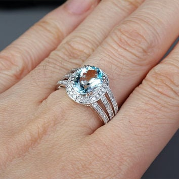 3.16ctw Oval Cut Aquamarine Engagement ring,VS Diamond wedding band,14K Gold,Blue Gemstone Promise Bridal Ring,Halo,Milgrain,Split Shank