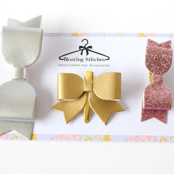 Hair bow clip set - silver and gold metallic faux leather and pink glitter