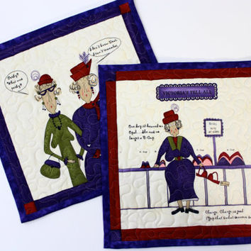 Quilted Mug Rug  Red Hatters  Quilters Gift Set of 2  Women With Attitude Valentines Day Gift