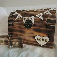 Rustic Wood Burned Wedding Card and Ring Chest His Hers Ring Boxes Wedding Set H