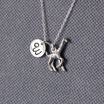 Giraffe Necklace. Giraffe Charm Personalized Initial Necklace. friendship jewelry.Sterling Silver Necklace. No.188