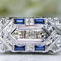 Edwardian Antique Style Engagement Ring European Cut Diamond 18K White Gold Ornate Diamond Wedding Ring!