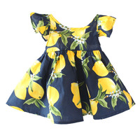 Lemon Pattern Baby Girl Sundresses