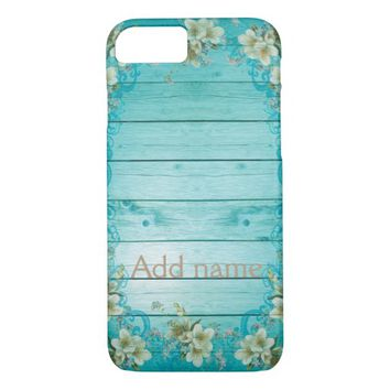 Customize,Blue, Wood Effect, Floral case. iPhone 7 Case