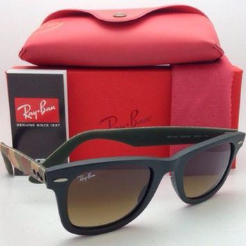 New RAY-BAN Sunglasses RB 2140 6062/85 Matte Green & Camo w/ Brown Gradient Lens