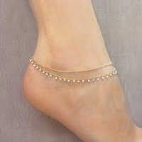 Gold Double Beaded Chain Anklet // Summer Boho Ankle Bracelet // Delicate Bohemian Foot Jewelry