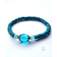 Turquoise Seed Bead Stretch Bracelet With Turquoise Crystals (Upcycle jewellery) -  British (UK) Jewellery Designer