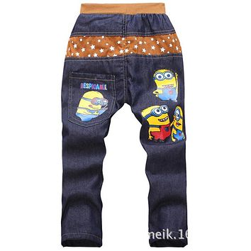 2016 spring autumn fashion minions kids pants girls baby boys jeans children jeans for boys casual denim pants 3-7Y baby clothes