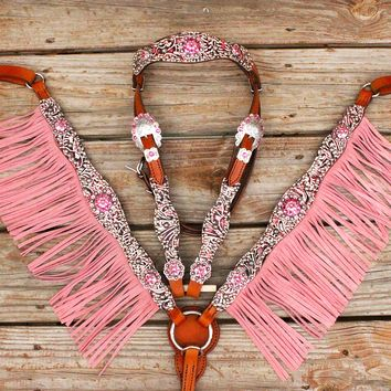 Pink Filigree/Tan Leather Fringe Browband Tack Set w/Pink Crystal Rhinestone Conchos
