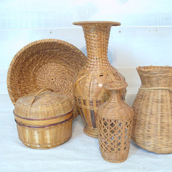 Unique Collection of Wicker Basket Vases, Rattan Basket Bowl, Wicker Basket with Lid, Woven Demijohn