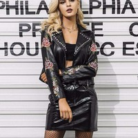 Faux Leather Embroidery Floral Jacket