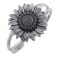 Sterling Silver Sunflower Cuff Bracelet 40mm | Body Candy Body Jewelry