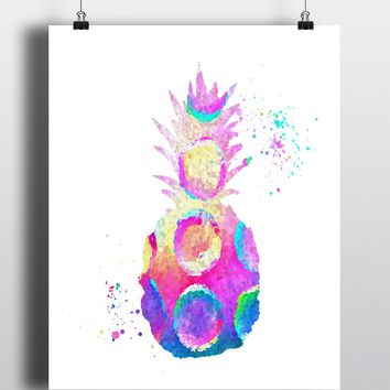 Pineapple Watercolor Art Print - Unframed