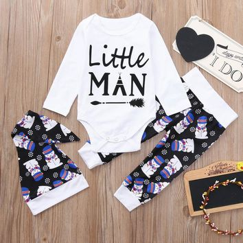 Lovely Newborn Baby Boy Clothing Christmas Clothes Snowman Arrow Letter Tops+Pants+Hat Set Clothes Costumes For Babies Cloth Set