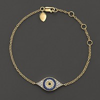 Meira T Diamond, Sapphire and 14K Yellow Gold Evil Eye Bracelet