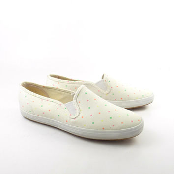 Keds Shoes Vintage 1990s Slip on Champions Neon Dots Sneakers Women's size 7 1/2