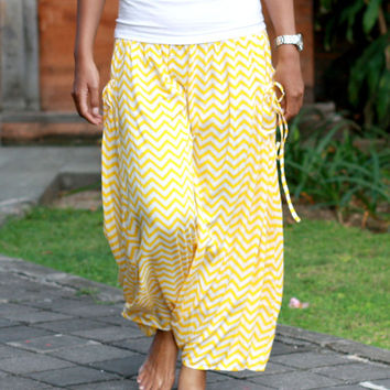 Women's harem pants yellow chevron, skirt pants, harem pants skirt