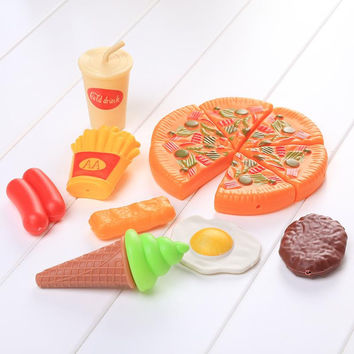 1 Set Doll House Aceessories Mini Tableware Kitchen Food Mini Pizza Pie Fast Food for Kids Play Toys