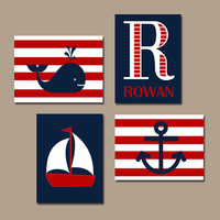 Red Navy NAUTICAL Nursery Wall Art Canvas or Print Sailboat Whale Anchor, Baby Boy Nursery Artwork, Boy Bedroom Set of 4 Crib Decor