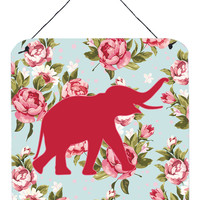 Elephant Shabby Chic Blue Roses Wall or Door Hanging Prints BB1011