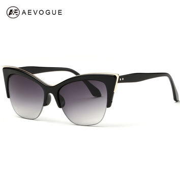 AEVOGUE Newest Half-Frame Cat Eye Sunglasses Women Summer Style Sun Glasses Brand Designer Gafas Oculos De Sol UV400 AE0266