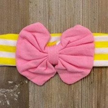 Girls Yellow/White Pink Bow Stretchy Headband
