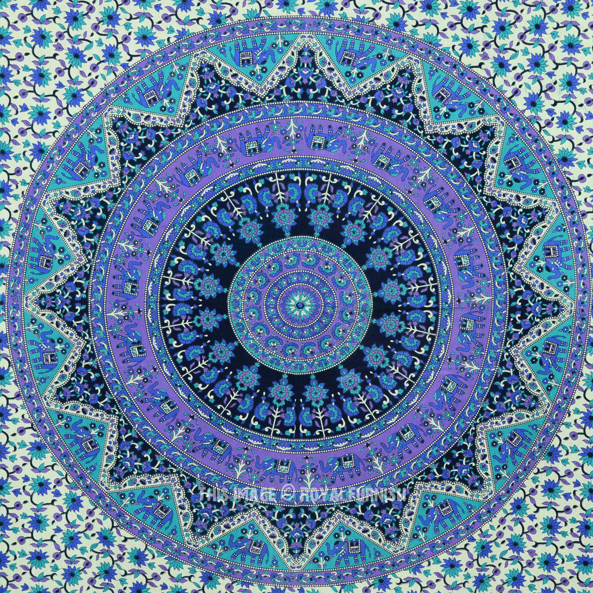 Small Blue Indian Psychedelic Hippie Boho from Royal Furnish