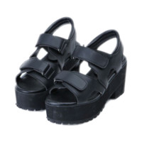 Black Velcro Buckle Platform Shoes