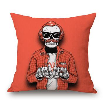 """Square 18"""" New Print Style Color Skulls Cushions Linen Cushion Cover Family Badges Throw Pillow For Living Room Customized - 8"""