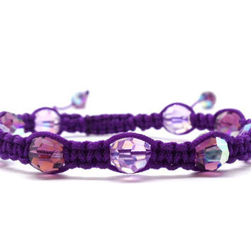 Purple Macrame Bracelet Beaded by GirlBurkeStudios on Etsy