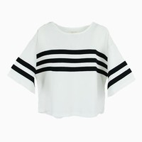 Collage Stripe Oversized T-shirt In White | Choies