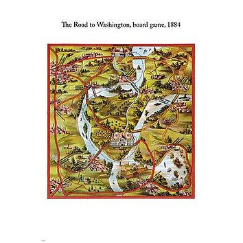 1884 vintage THE ROAD TO WASHINGTON board game educational poster 24X36