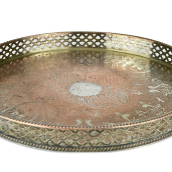 Silver Plated Round Drinks Tray Antique English circa 1900
