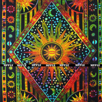 Tie Dye Sun Moon Star Twin Tapestry Bohemian Mandala 100% cotton room Bedsheet