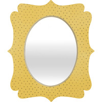 Allyson Johnson Sunny Yellow Dots Quatrefoil Mirror