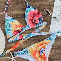 Floralkini Floral Wrap Around Haler Bikini Set