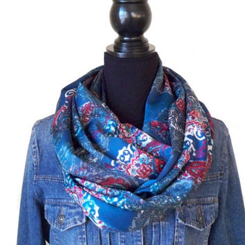 Paisley Infinity Scarf, Paisley Blue Scarf, Teal Blue Scarf, Womens Blue Loop Scarf, Spring Scarf