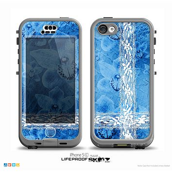 The Vibrant Blue & White Floral Lace Skin for the iPhone 5c nüüd LifeProof Case