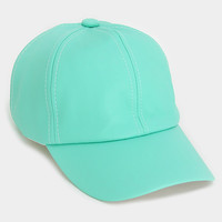 Faux Leather Pastel Mint Baseball Hat - Mint