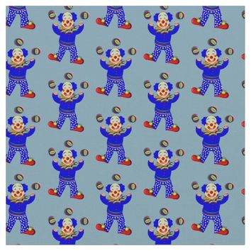 Kids Cute Cartoon Circus Clown Whimsy Fabric Print