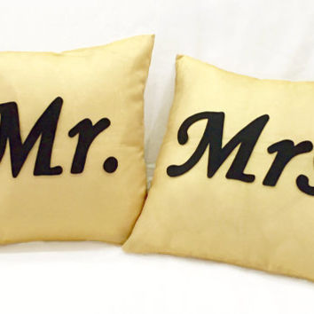 2 Pieces Set. Mr Mrs Light Gold And Black Pillow Covers Set. Hand Cut Text. Shimmer Gold Wedding Gift Bridal Gift. Cushion Covers Set