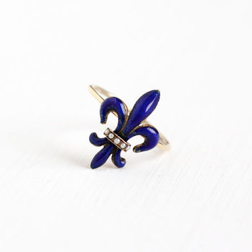 Antique 14k Rose Gold Blue Enamel Fleur De Lis Ring - Vintage Victorian Edwardian Seed Pearl Stick Pin Conversion Fine Lily Iris Jewelry