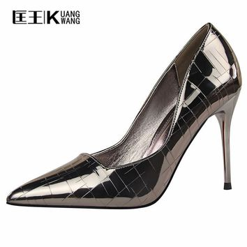Brand Sexy Shoes Woman High Heels Pumps Heels 10CM Women Shoes 2018 Wedding Shoes Heels Black Red Gold Silver